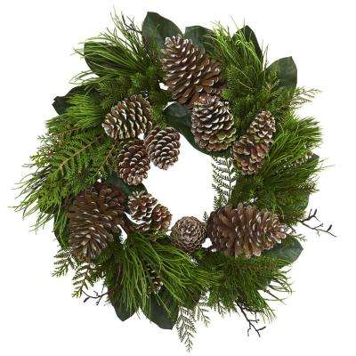 28 in. Pine Cone and Pine Artificial Wreath