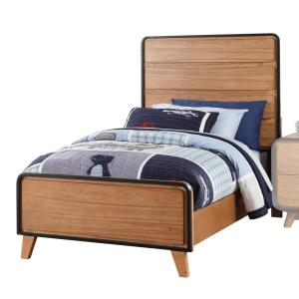 Carla Oak and Black Twin Bed