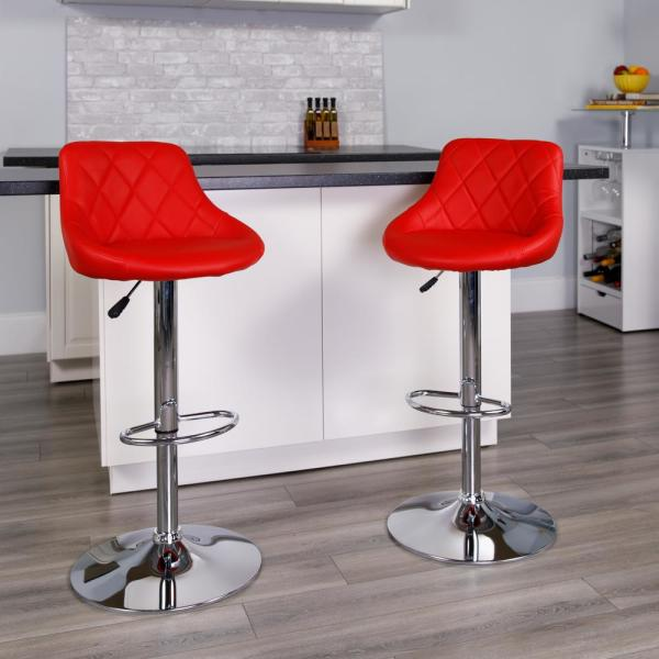 Flash Furniture 32 in. Adjustable Height Red Cushioned Bar Stool CH82028ARED