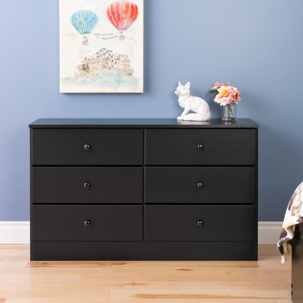 Astrid 6-Drawer Black Dresser