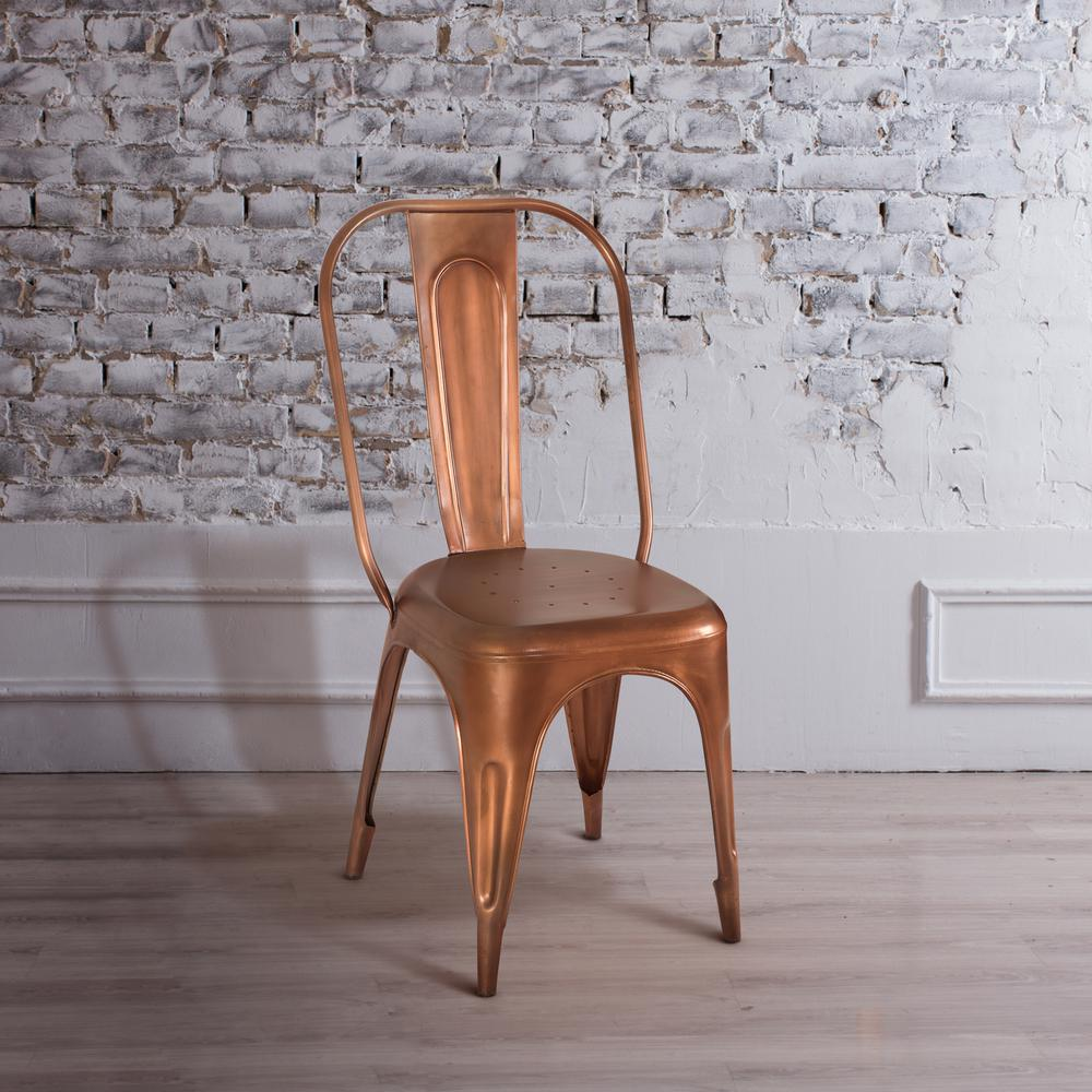 Yosemite Home Decor Copper Metal Side Chair Product Photo