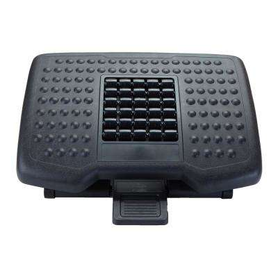 Black Adjustable Height Ergonomic Foot Rest with Massage Rollers