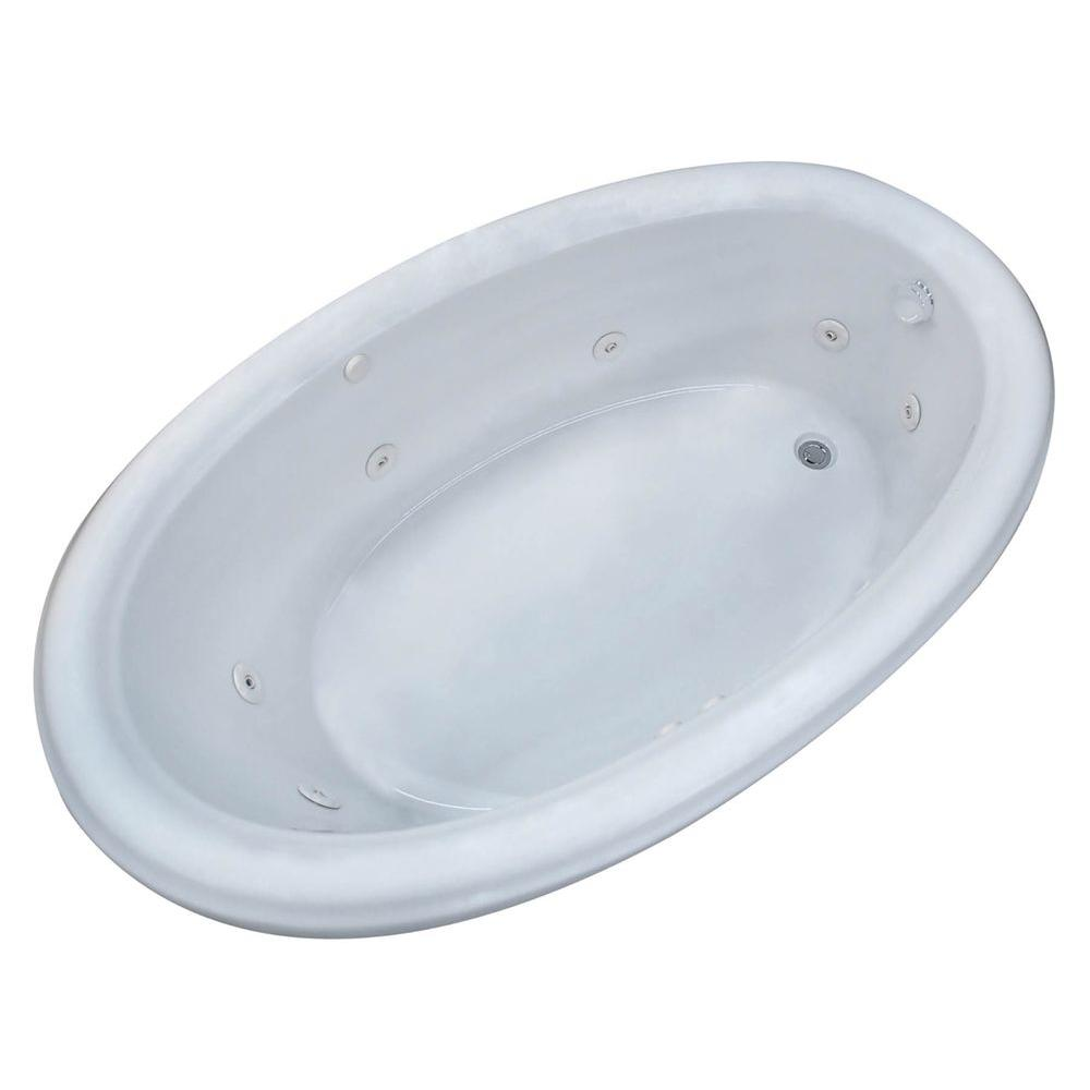 Universal Tubs Topaz 60 in. Oval Drop-in Whirlpool Bath Tub in White ...