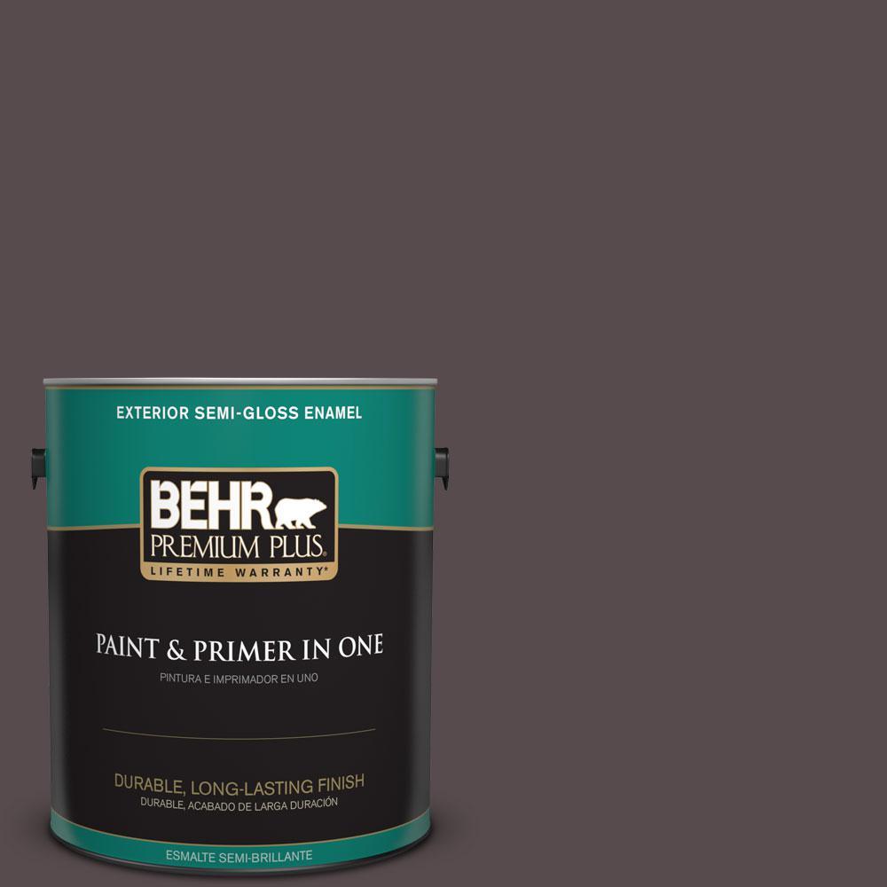 BEHR Premium Plus 1-gal. #N100-7 Aubergine Semi-Gloss Enamel Exterior Paint