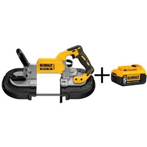 Click here to buy Dewalt 20-Volt MAX Lithium Ion Cordless Deep Cut Band Saw (Tool only) with Bonus XR 5Ah Battery Pack by DEWALT.