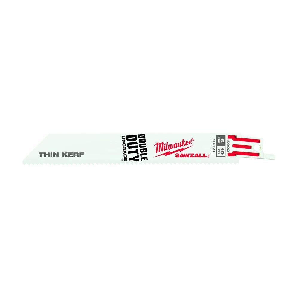 Milwaukee 6 in. 10 Teeth per in. Thin Kerf Mutli-Material Sawzall Reciprocating Saw Blade (50-Pack)