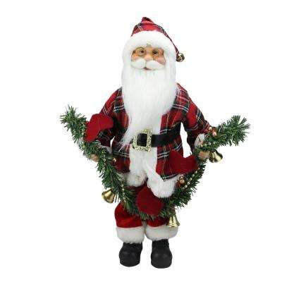 """18"""" Santa Claus Holding a Pine Garland Tabletop Decoration"""