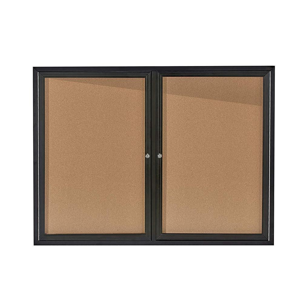 AdirOffice AdirOffice 48 in. x 36 in. Black Lockable Double Door Enclosed Cork Board Bulletin Memo Board