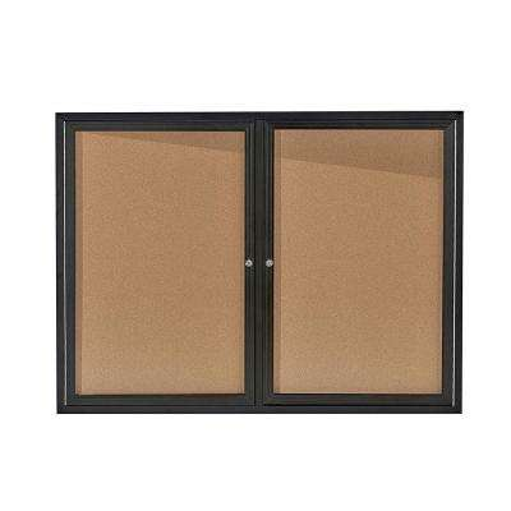 48 in. x 36 in. Black Lockable Double Door Enclosed Cork Board Bulletin Memo Board