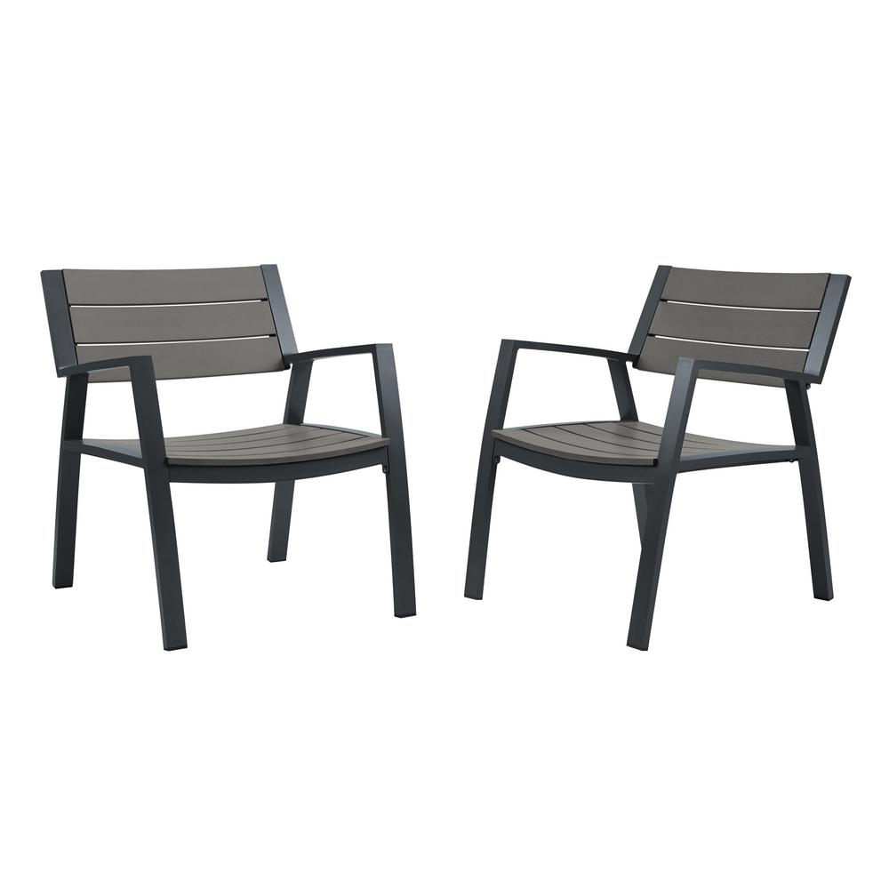Real Flame Anson 2 Piece All Weather Aluminum Outdoor Patio Casual Lawn  Chairs in Gray  2 Pack  9580 GRY   The Home Depot. Real Flame Anson 2 Piece All Weather Aluminum Outdoor Patio Casual