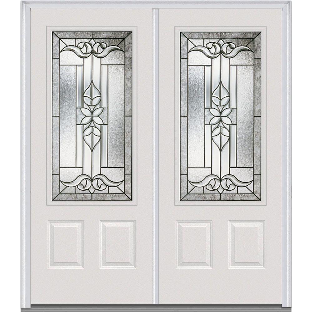 64 in. x 80 in. Cadence Right-Hand 3/4 Lite 2-Panel Classic Painted Steel Prehung Front Door