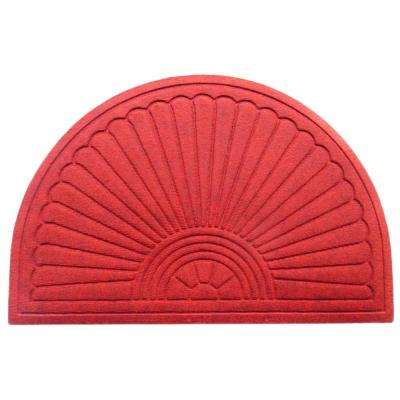 A1HC Half-Moon Red 24 in. x 36 in. Eco-Poly Indoor/Outdoor Mat with Anti-Slip Tire Crumb Backing
