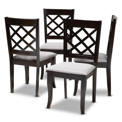 Verner Gray and Espresso Fabric Dining Chair (Set of 4)
