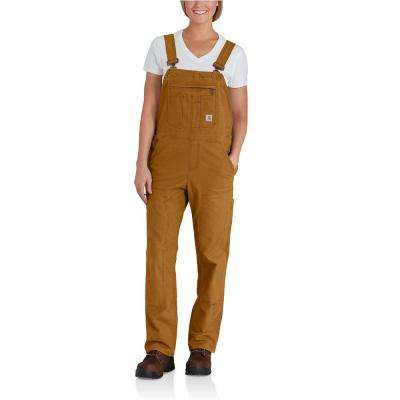 Women's Large Short Carhartt Brown Cotton/Spandex Crawford Double Front Unlined Bib Overalls