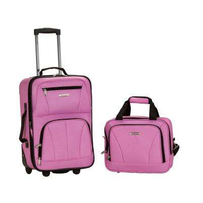 Rockland Rio Expandable 2-Piece Carry On Softside Luggage Set, Pink