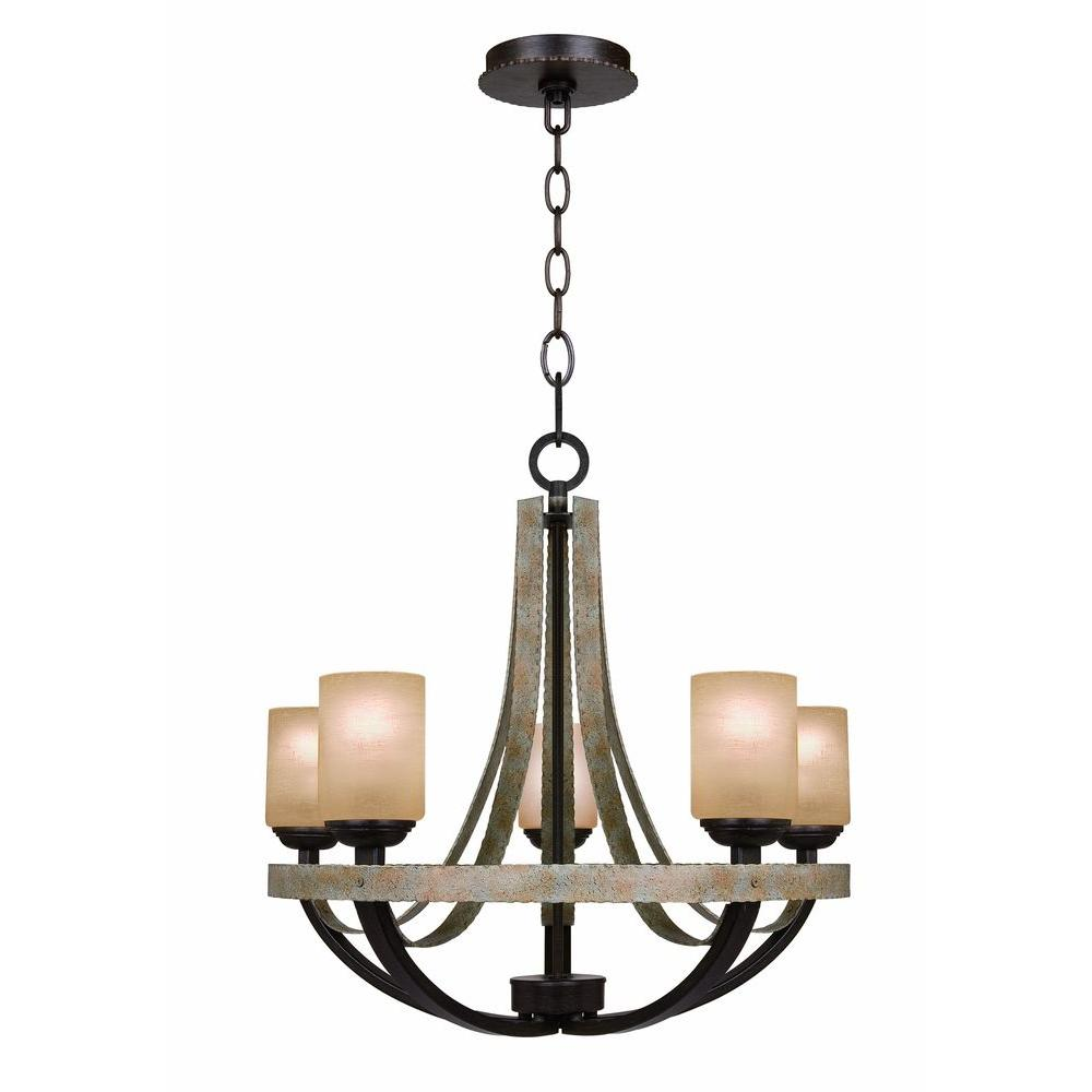 Green chandeliers lighting the home depot croft 5 light olive stone chandelier aloadofball Choice Image