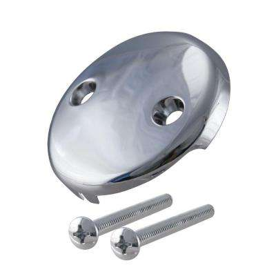 3-1/8 in. Two-Hole Overflow Face Plate and Screws in Polished Chrome