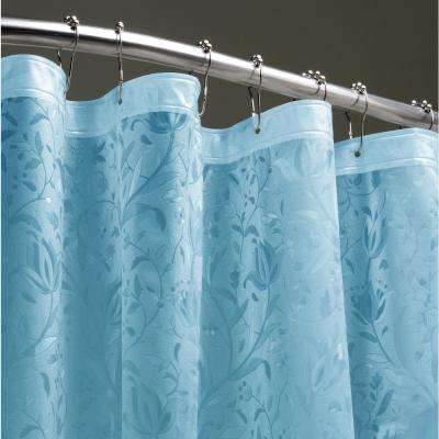 Floral 72 in. Blue 3D Shower Curtain