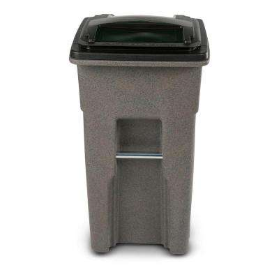 32 Gal. Wheeled Graystone Trash Can