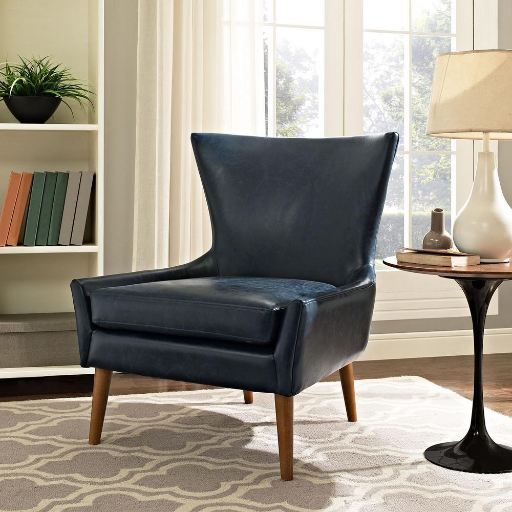 Keen Blue Upholstered Vinyl Armchair
