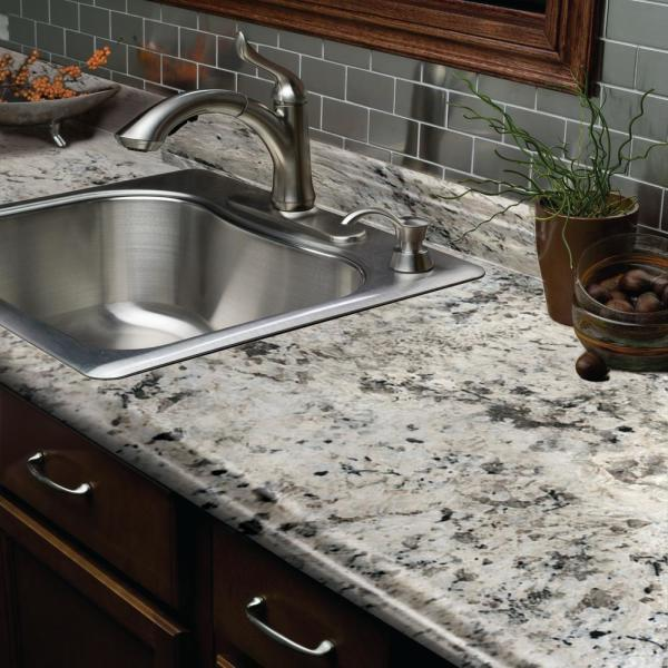 Hampton Bay 6 Ft Laminate Countertop In Typhoon Ice With Valencia Edge And Integrated Backsplash 495252v6 The Home Depot