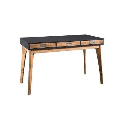 Jackie Dark Grey and Natural Wood Home Office Desk with 3-Drawers