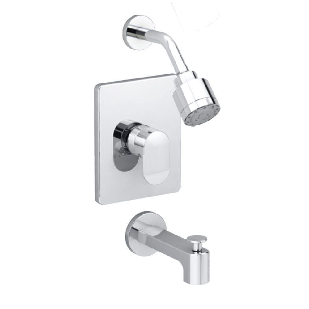 one piece shower faucet. Moments 1 Handle Tub and Shower Faucet Trim Kit in Polished Chrome American Standard Berwick