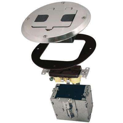 1-Gang Nickel Floor Box Kit with Recessed Duplex 15A TR Device and Adjustable Steel Box