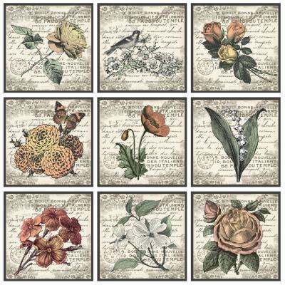 """12 in. x 12 in. """"French Botanical Illustrations"""" by In House Art Printed Canvas Wall Art 9-Piece"""