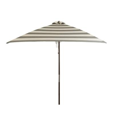 6.5 ft. Classic Wood Square Market Patio Umbrella in Soft Black and Ivory Stripe Solution Dyed Polyester