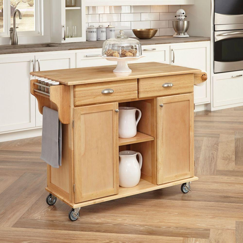 Home styles napa natural kitchen cart with storage 5099 95 for Kitchen units on wheels
