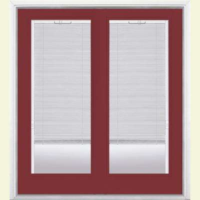 72 in. x 80 in. Red Bluff Prehung Right-Hand Inswing Mini Blind Steel Patio Door with Brickmold