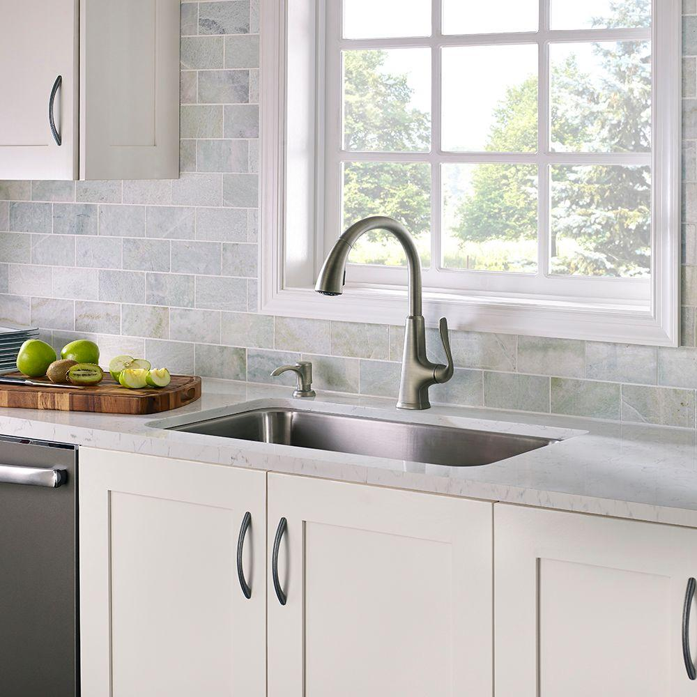 Pfister Pasadena Single-Handle Pull-Down Sprayer Kitchen Faucet with Soap  Dispenser in Slate