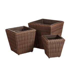 Patio Sense Piazza 18 inch Mocha Resin Wicker Planter Set (3-Piece) by Patio Sense