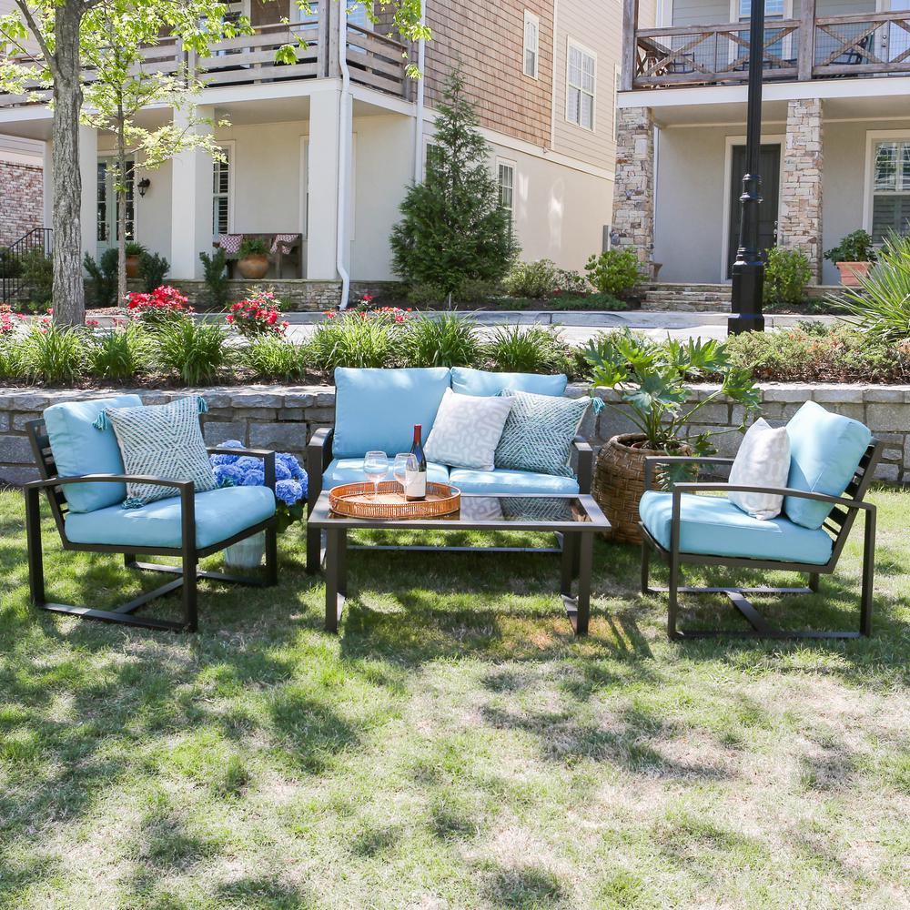 Jasper 4-Piece Aluminum Patio Conversation Set with Blue Cushions