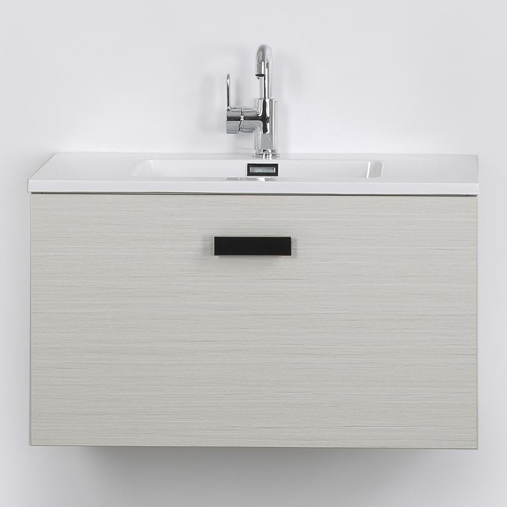 Streamline 31.5 in. W x 18.1 in. H Bath Vanity in Gray with Resin Vanity Top in White with White Basin