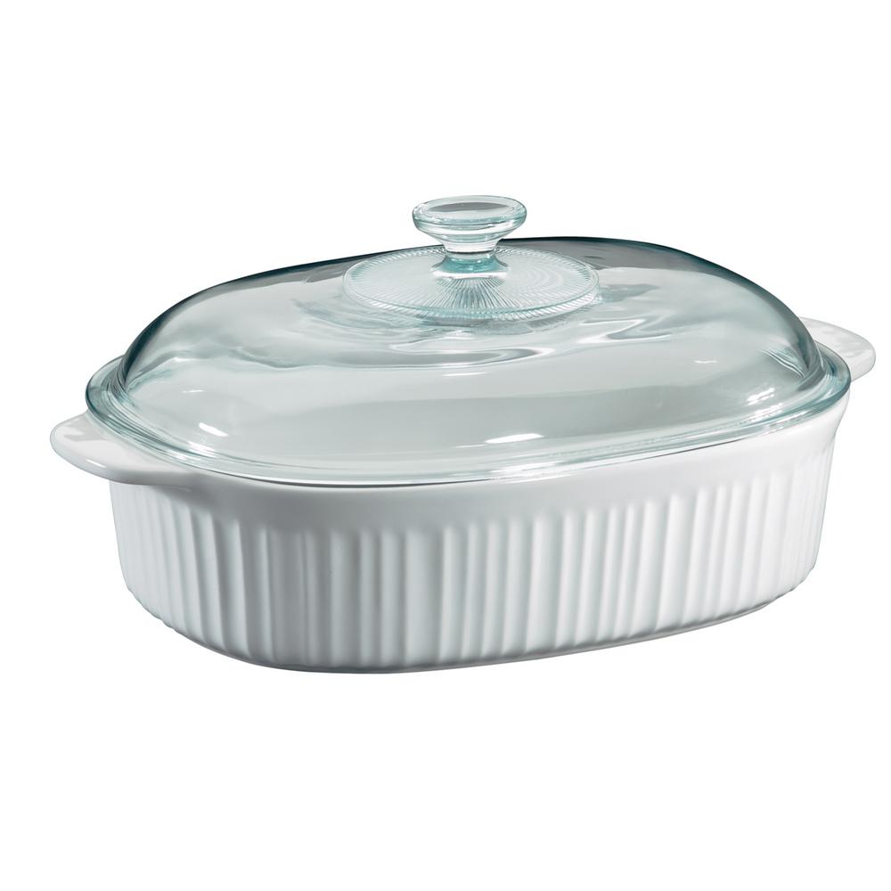 Corningware Corningware French White 4-Qt Oval Ceramic Casserole Dish with Glass Cover