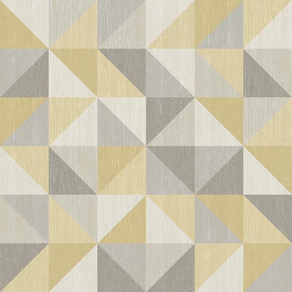 Nuwallpaper jigsaw yellow and grey peel and stick for Grey designer wallpaper