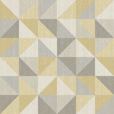 Yellow and Grey Jigsaw Peel and Stick Wallpaper Sample