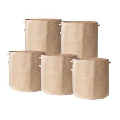 15.25 in. x 19 in. 20 Gal. Breathable Fabric Pot Bags with Handles Tan Felt Grow Pot (5-Pack)