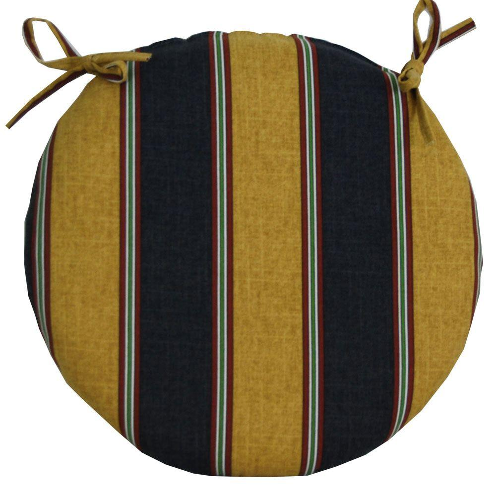 null Denver Stripe Onyx Outdoor Bistro Seat Cushion-DISCONTINUED