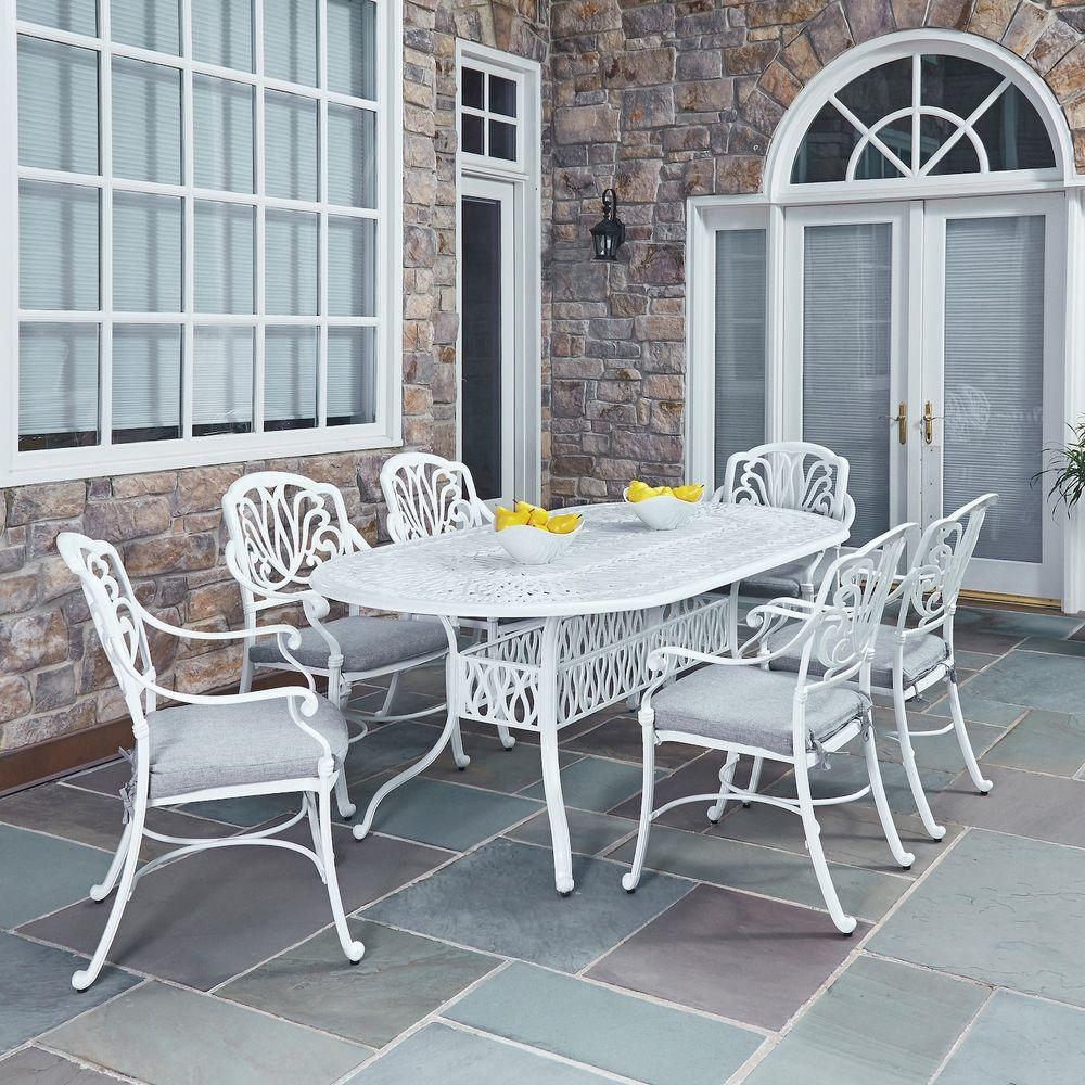 Home Styles Floral Blossom White 7-Piece All-Weather Patio