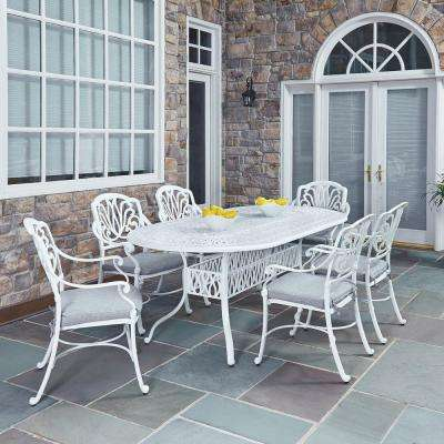 Wonderful Floral Blossom White 7 Piece All Weather Patio Dining Set With Cushions