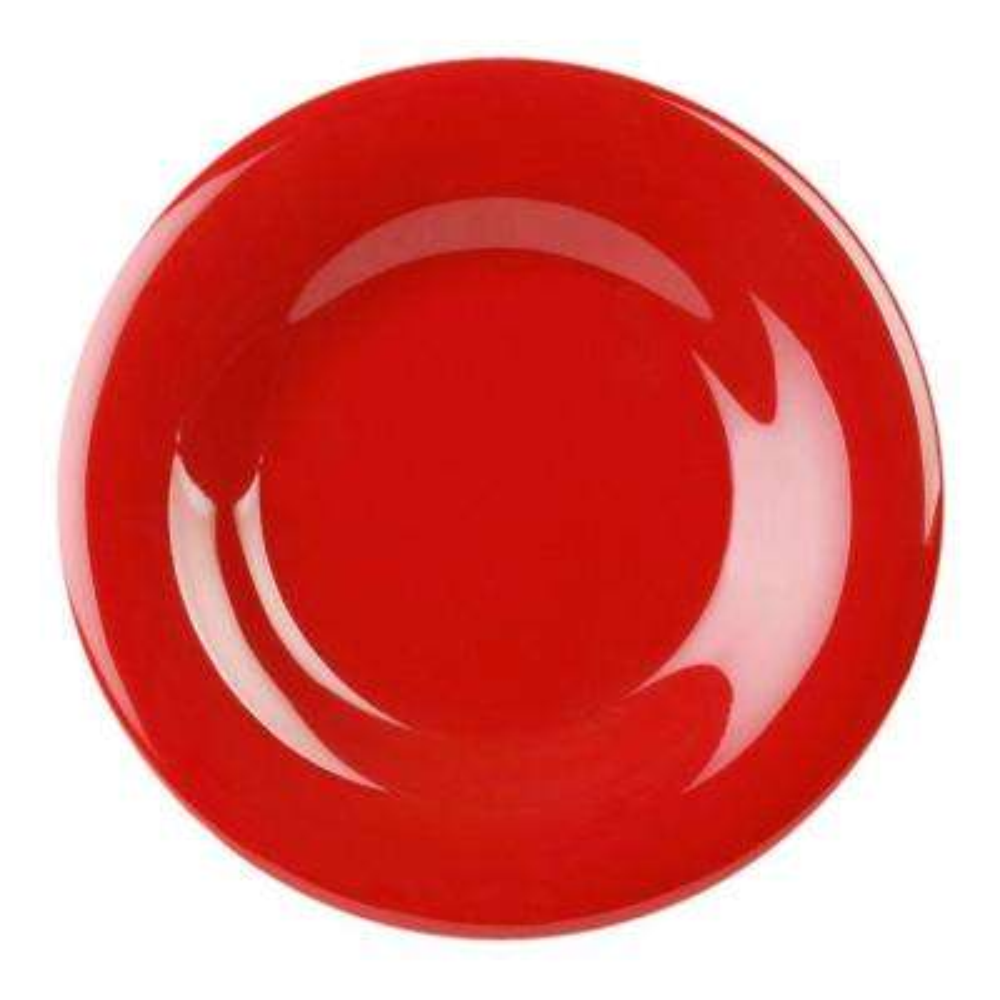 Coleur 5-1/2 in. Wide Rim Plate in Pure Coleur Red (12-Piece)