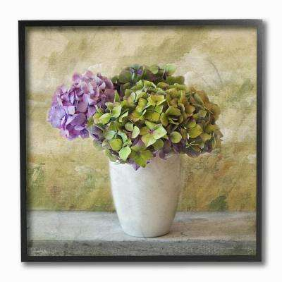 "12 in. x 12 in. ""Floral Textural Purple Hydrangea"" by In House Artist Framed Wall Art"
