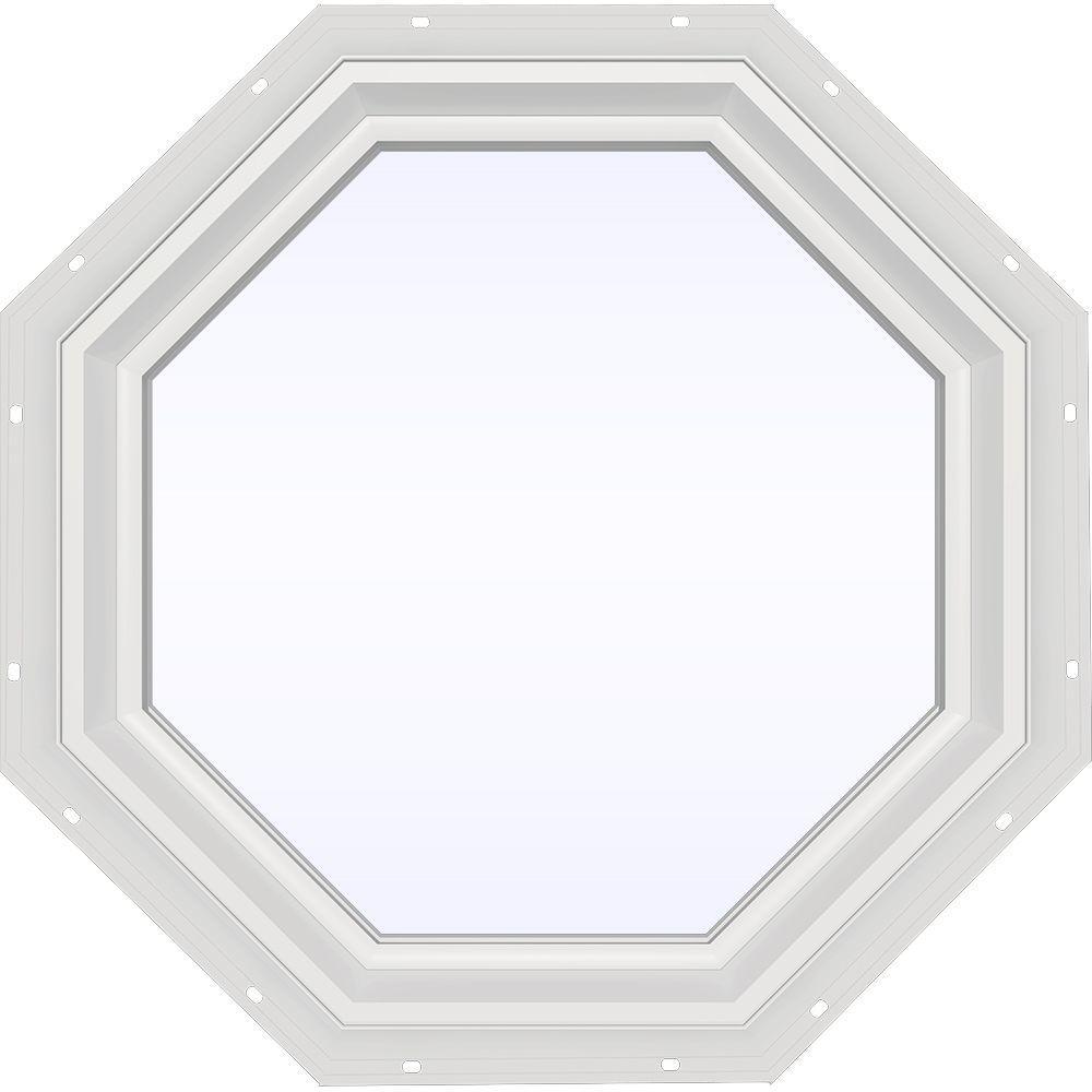 JELD-WEN 23.5 in. x 23.5 in. V-2500 Series White Vinyl Fixed Octagon Geometric Window w/ Low-E 366 Glass