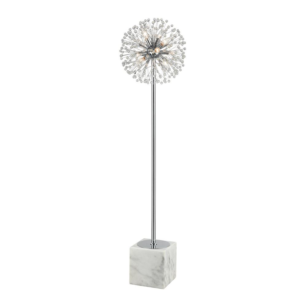 Titan Lighting 64 in. H Chrome/White Marble and Crystal Floor Lamp