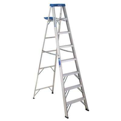 8 ft. Aluminum Step Ladder with 250 lb. Load Capacity Type I Duty Rating