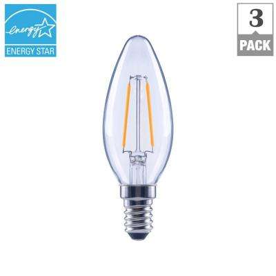 25-Watt Equivalent B11 E12 Base Dimmable Clear Filament LED Light Bulb, Daylight (3-Pack)