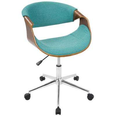 Curvo Teal and Walnut Office Chair